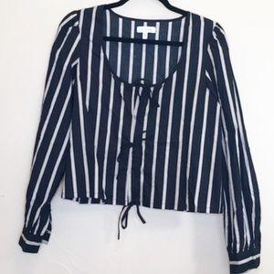 K/Lab Black White Striped Long Sleeve Crop Blouse